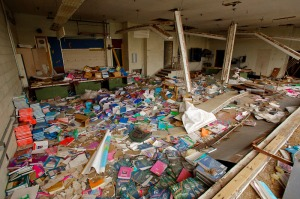 Books, some still left in wrappers, fill the classrooms.