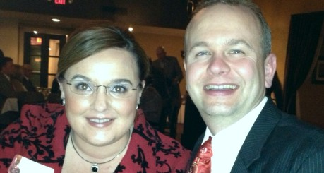 Sara Marie and Andrew Brenner at their parish's men's club Christmas party