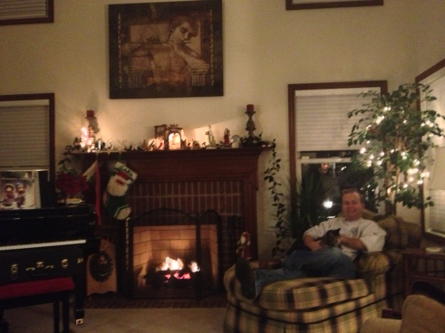 Sara Marie's husband, Andrew, sitting in front of the mantel in the Brenner home with their cat, Ellie