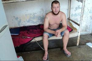 Jon Hammar in Mexican jail, where he was sometimes chained to his bed