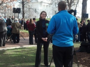 The Family Foundation President, Victoria Cobb, giving an interview after the rally