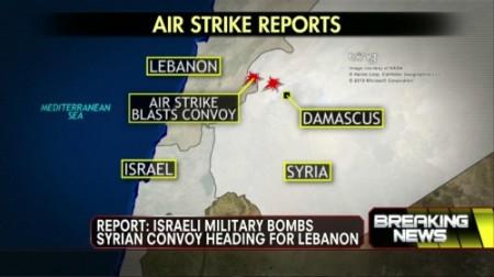 israel air strike map